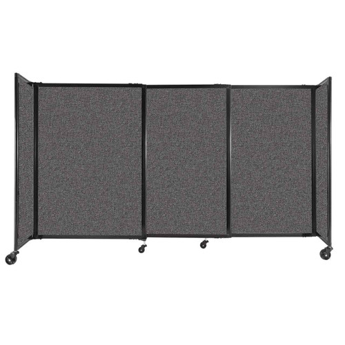 """StraightWall Sliding Portable Partition 7'2"""" x 4' Charcoal Gray Fabric"""