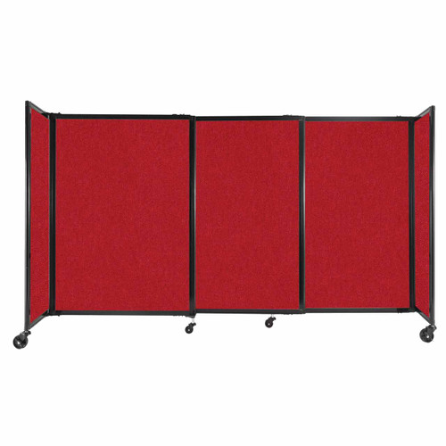 """StraightWall Sliding Portable Partition 7'2"""" x 4' Red Fabric"""