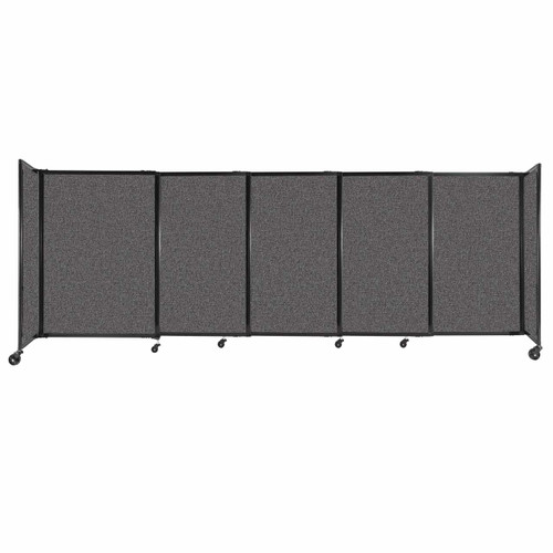 """StraightWall Sliding Portable Partition 11'3"""" x 4' Charcoal Gray Fabric"""