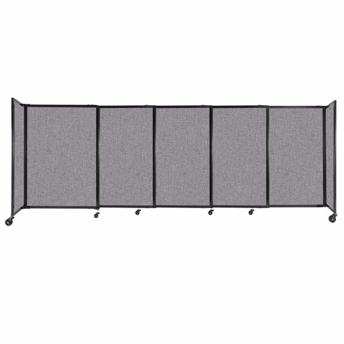 """StraightWall Sliding Portable Partition 11'3"""" x 4' Cloud Gray Fabric"""
