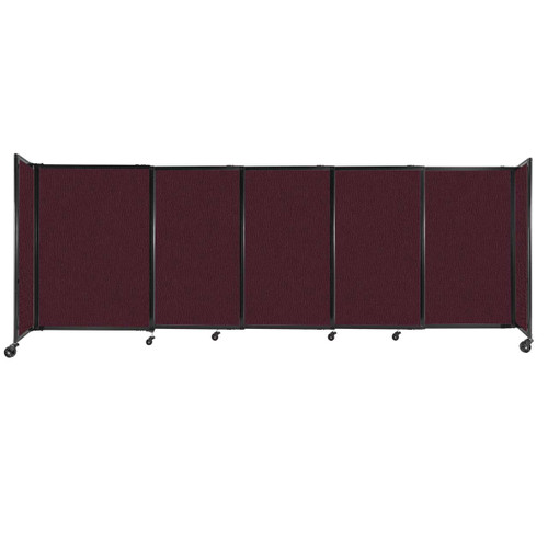 """StraightWall Sliding Portable Partition 11'3"""" x 4' Cranberry Fabric"""