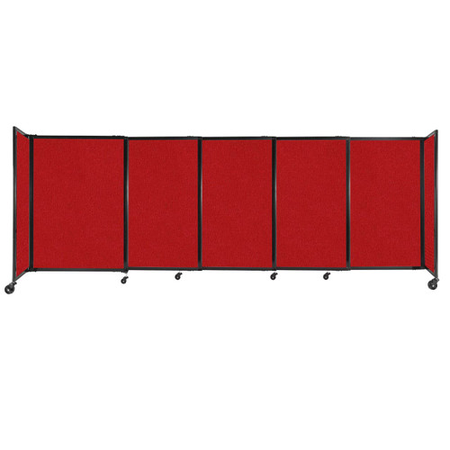 """StraightWall Sliding Portable Partition 11'3"""" x 4' Red Fabric"""