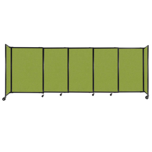 """StraightWall Sliding Portable Partition 11'3"""" x 4' Lime Green Fabric"""