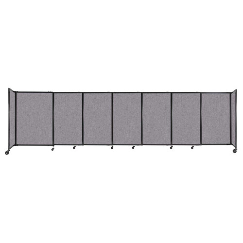 """StraightWall Sliding Portable Partition 15'6"""" x 4' Cloud Gray Fabric"""
