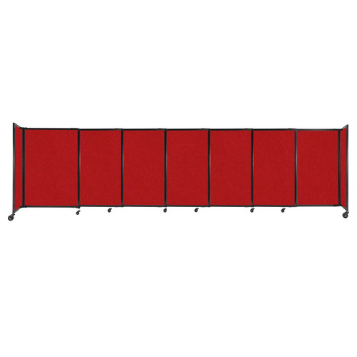 """StraightWall Sliding Portable Partition 15'6"""" x 4' Red Fabric"""