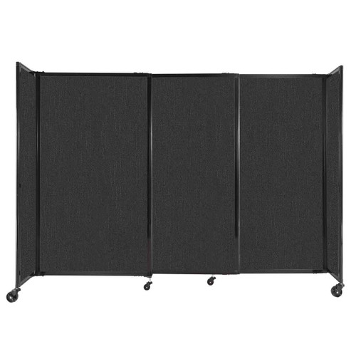 """StraightWall Sliding Portable Partition 7'2"""" x 5' Black Fabric"""