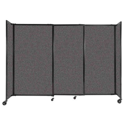 """StraightWall Sliding Portable Partition 7'2"""" x 5' Charcoal Gray Fabric"""