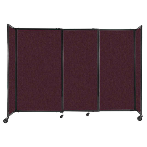 """StraightWall Sliding Portable Partition 7'2"""" x 5' Cranberry Fabric"""