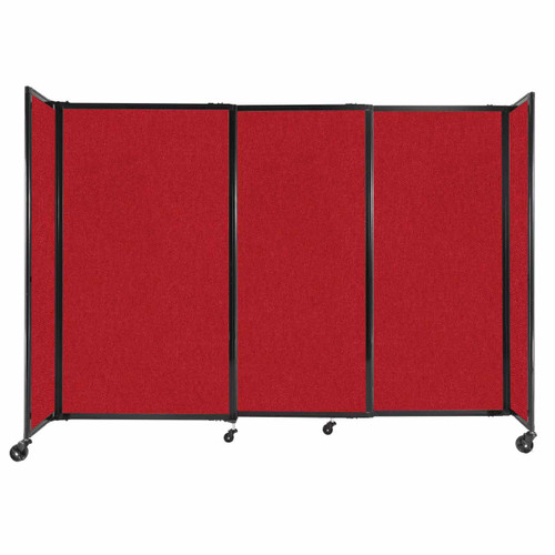 """StraightWall Sliding Portable Partition 7'2"""" x 5' Red Fabric"""