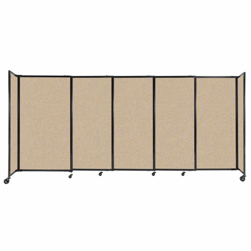 """StraightWall Sliding Portable Partition 11'3"""" x 5' Beige Fabric"""