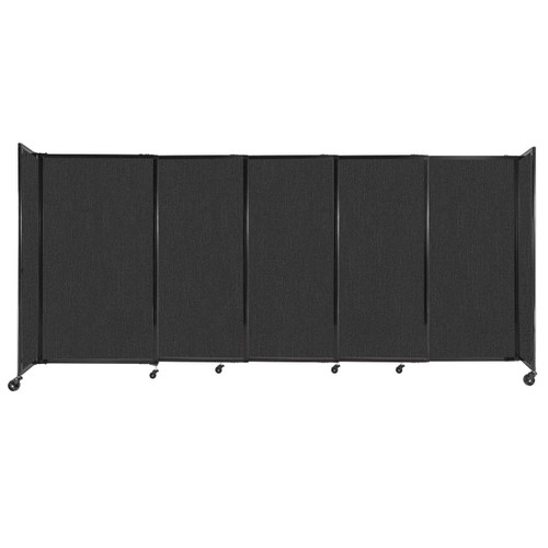 """StraightWall Sliding Portable Partition 11'3"""" x 5' Black Fabric"""