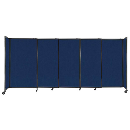 """StraightWall Sliding Portable Partition 11'3"""" x 5' Navy Blue Fabric"""