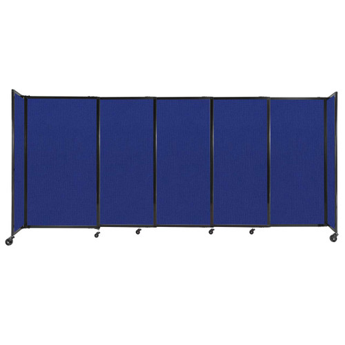 """StraightWall Sliding Portable Partition 11'3"""" x 5' Royal Blue Fabric"""