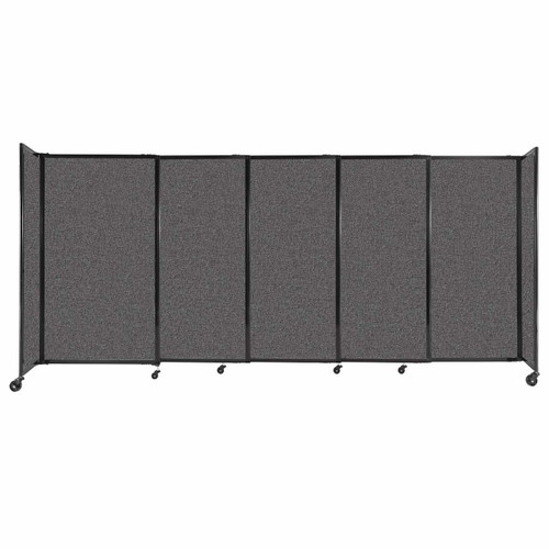 """StraightWall Sliding Portable Partition 11'3"""" x 5' Charcoal Gray Fabric"""