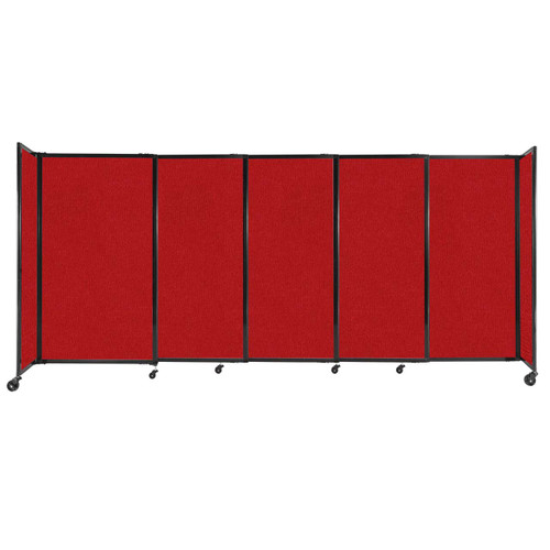 """StraightWall Sliding Portable Partition 11'3"""" x 5' Red Fabric"""