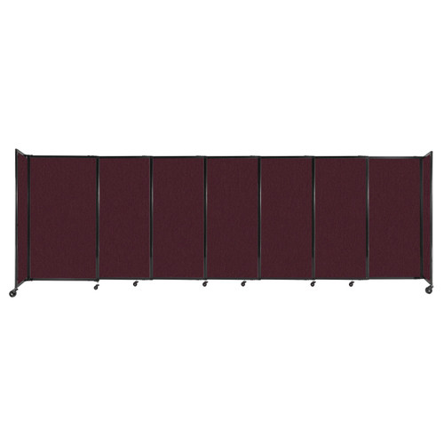 """StraightWall Sliding Portable Partition 15'6"""" x 5' Cranberry Fabric"""