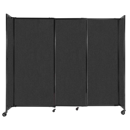 """StraightWall Sliding Portable Partition 7'2"""" x 6' Black Fabric"""