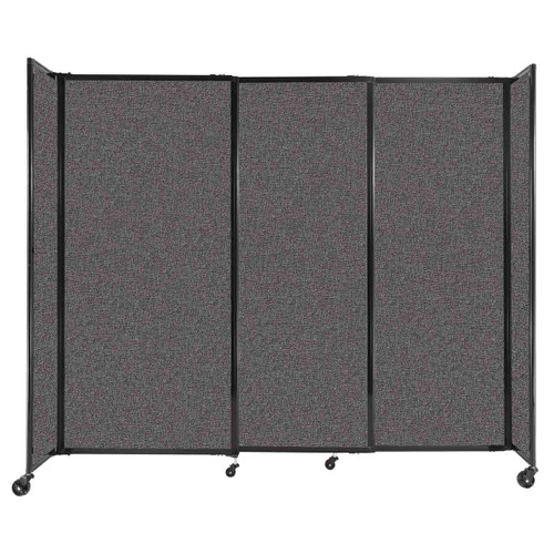 """StraightWall Sliding Portable Partition 7'2"""" x 6' Charcoal Gray Fabric"""