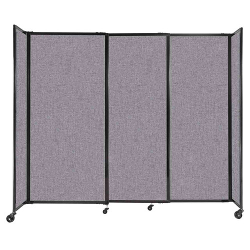 """StraightWall Sliding Portable Partition 7'2"""" x 6' Cloud Gray Fabric"""