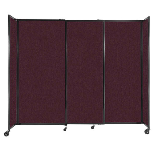 """StraightWall Sliding Portable Partition 7'2"""" x 6' Cranberry Fabric"""