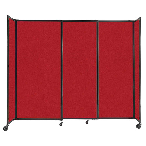"""StraightWall Sliding Portable Partition 7'2"""" x 6' Red Fabric"""