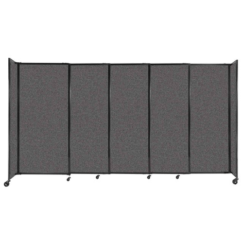 """StraightWall Sliding Portable Partition 11'3"""" x 6' Charcoal Gray Fabric"""