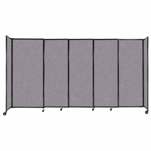 """StraightWall Sliding Portable Partition 11'3"""" x 6' Cloud Gray Fabric"""