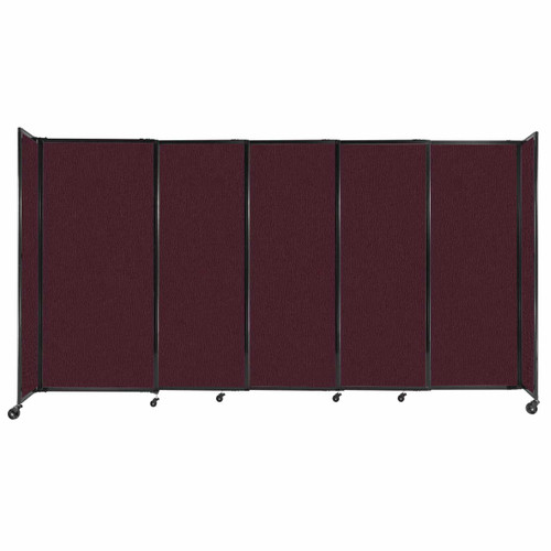 """StraightWall Sliding Portable Partition 11'3"""" x 6' Cranberry Fabric"""