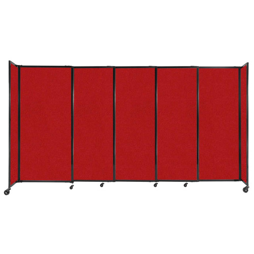 """StraightWall Sliding Portable Partition 11'3"""" x 6' Red Fabric"""