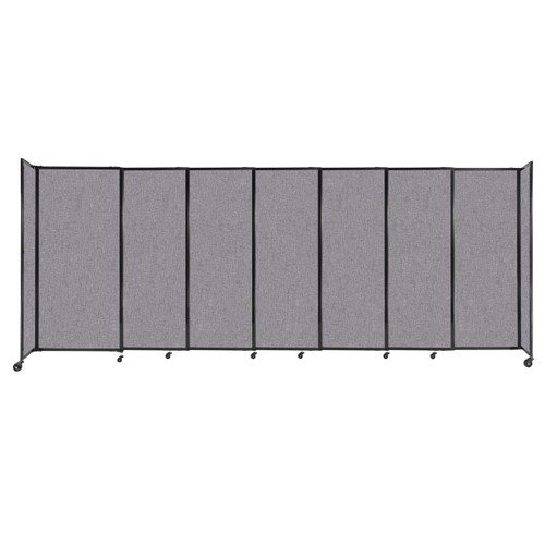 """StraightWall Sliding Portable Partition 15'6"""" x 6' Cloud Gray Fabric"""