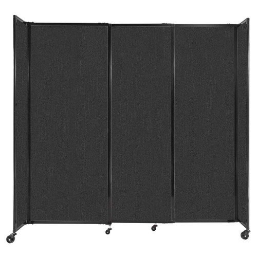 """StraightWall Sliding Portable Partition 7'2"""" x 6'10"""" Black Fabric"""