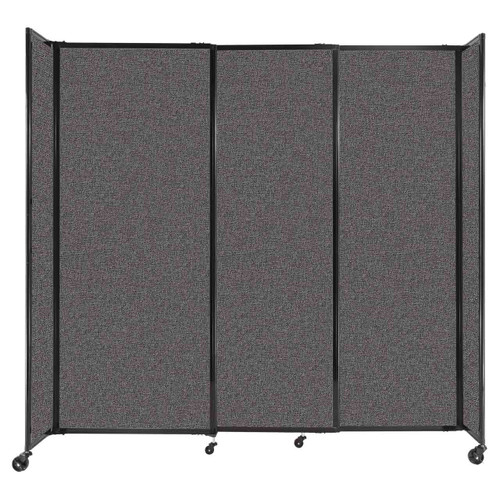 """StraightWall Sliding Portable Partition 7'2"""" x 6'10"""" Charcoal Gray Fabric"""