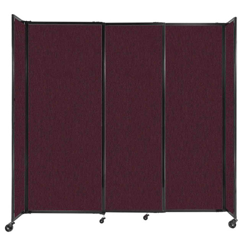 """StraightWall Sliding Portable Partition 7'2"""" x 6'10"""" Cranberry Fabric"""