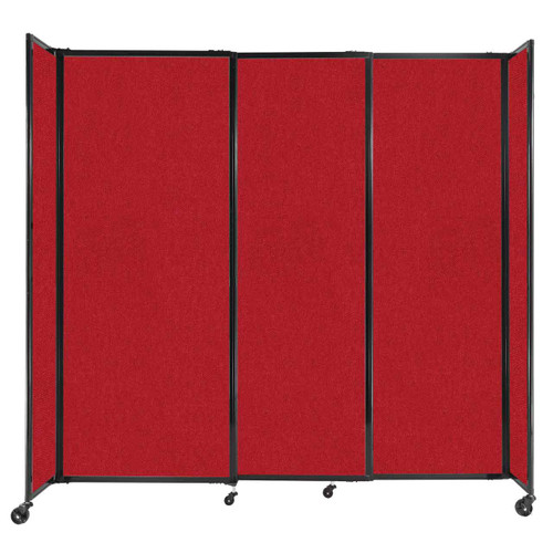 """StraightWall Sliding Portable Partition 7'2"""" x 6'10"""" Red Fabric"""