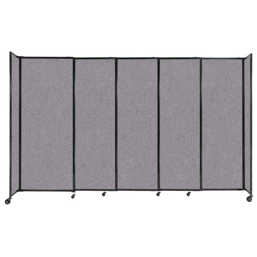 """StraightWall Sliding Portable Partition 11'3"""" x 6'10"""" Cloud Gray Fabric"""