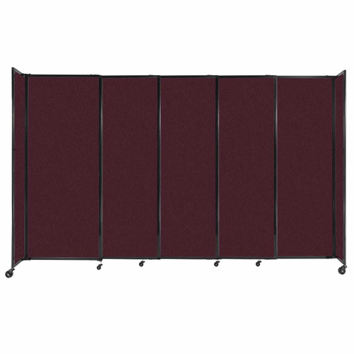 """StraightWall Sliding Portable Partition 11'3"""" x 6'10"""" Cranberry Fabric"""