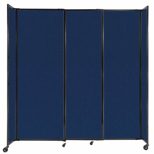 """StraightWall Sliding Portable Partition 7'2"""" x 7'6"""" Navy Blue Fabric"""