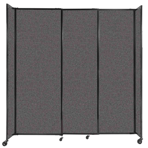 """StraightWall Sliding Portable Partition 7'2"""" x 7'6"""" Charcoal Gray Fabric"""