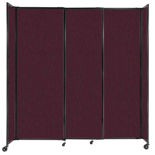 """StraightWall Sliding Portable Partition 7'2"""" x 7'6"""" Cranberry Fabric"""