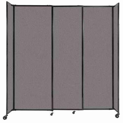 """StraightWall Sliding Portable Partition 7'2"""" x 7'6"""" Slate Fabric"""