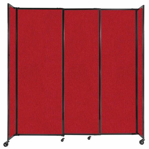 """StraightWall Sliding Portable Partition 7'2"""" x 7'6"""" Red Fabric"""
