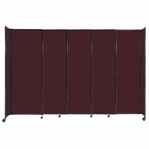 """StraightWall Sliding Portable Partition 11'3"""" x 7'6"""" Cranberry Fabric"""