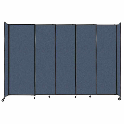 """StraightWall Sliding Portable Partition 11'3"""" x 7'6"""" Ocean Fabric"""