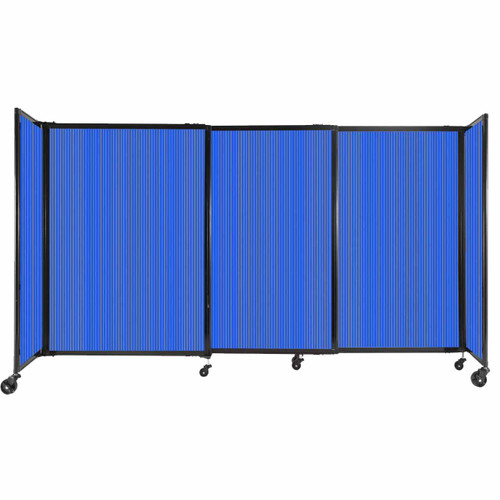 """StraightWall Sliding Portable Partition 7'2"""" x 4' Blue Fluted Polycarbonate"""