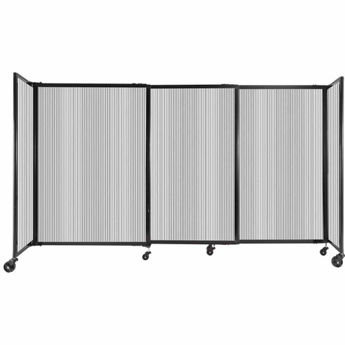 """StraightWall Sliding Portable Partition 7'2"""" x 4' Clear Fluted Polycarbonate"""