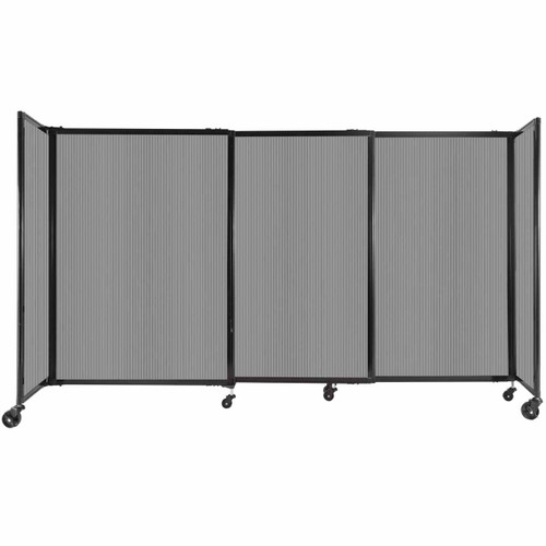 """StraightWall Sliding Portable Partition 7'2"""" x 4' Light Gray Fluted Polycarbonate"""