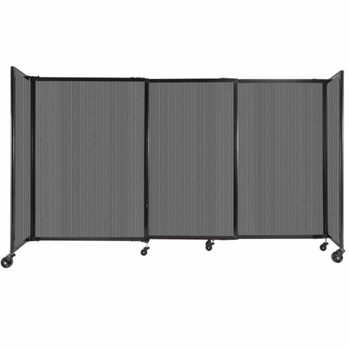 """StraightWall Sliding Portable Partition 7'2"""" x 4' Dark Gray Fluted Polycarbonate"""
