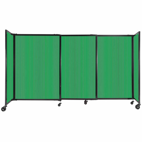 """StraightWall Sliding Portable Partition 7'2"""" x 4' Green Fluted Polycarbonate"""