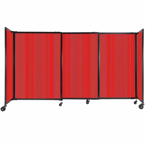 """StraightWall Sliding Portable Partition 7'2"""" x 4' Red Fluted Polycarbonate"""