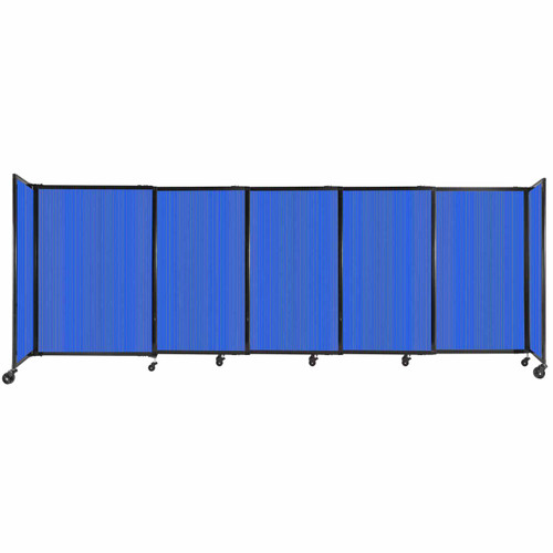 """StraightWall Sliding Portable Partition 11'3"""" x 4' Blue Fluted Polycarbonate"""